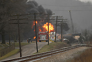 CSX train cars carrying hazardous materials burns on the tracks Tuesday, Jan. 16, 2007, near Shepherdsville, Ky., south of Louisville. (AP Photo/Brian Bohannon)