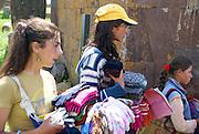 Armenia, Lake Sevan, Noraduz cemetery Local women sell souvenirs to tourists