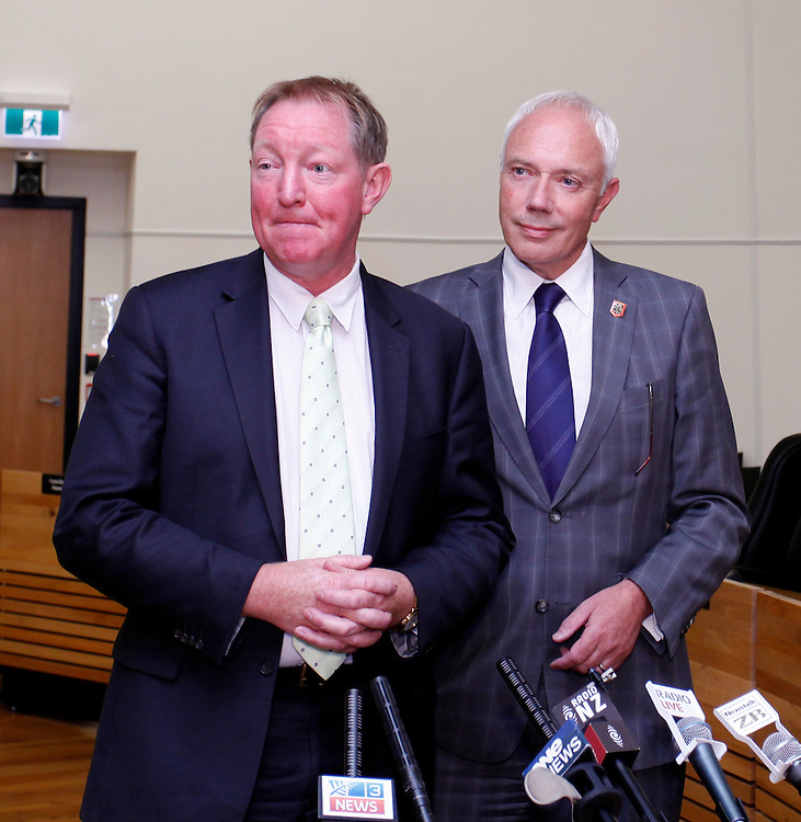 Local Government Minister Nick Smith, left and Mayor Bob Parker after a meeting with Christchurch City Councillors,   Christchurch, New Zealand, Friday, January 27, 2012.  Credit:SNPA / Pam Johnson