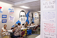 Volunteers with Organizing for America, President Obama's re-election campaign arm, make phone calls to potential supporters in the group's Richmond headquarters on Thursday, May 3, 2012 in Richmond, VA.
