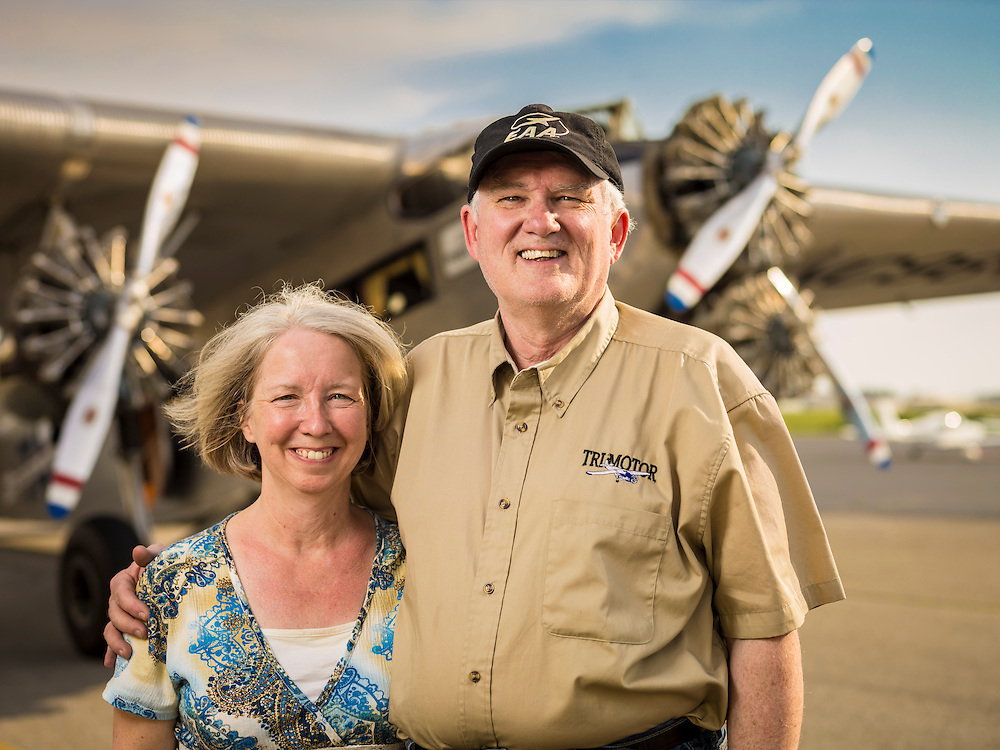 """Ashley is a retired Comair pilot, and together he and Peggy are """"touring"""" the Transcontinental Air Transit Ford Tri-Motor around the country."""