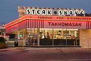 USA, Midwest,Missouri, Route 66,Springfield, steak 'n Shake, neon, restaurant, americana