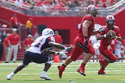 Sep 6, 2014; Piscataway, NJ, USA; Rutgers Scarlet Knights quarterback Gary Nova (10) looks to pass the ball during the first half at High Points Solutions Stadium.