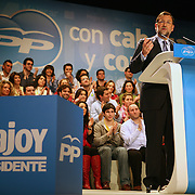 Mariano Rajoy, leader of the Spanish Popular Party, gestures during his speech at the Ayala Theatre on Tuesday, Feb. 26, 2008 in Bilbao, Spain. Rajoy is running against Jose Luis Rodriguez Zapatero, Spain's prime minister in the upcoming March 9th election. Contact photographer tel:+34 654488091/ Email: info@markelredondo.com.