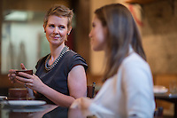 NEW YORK, NY &ndash; JANUARY 5, 2014: Actors Cynthia Nixon of Sex and the City fame, left, and Allison Williams from HBOs &quot;Girls&quot; have breakfast at Il Buco Alimentari Restaurant in Manhattan.<br /> <br /> Photo by Robert Caplin
