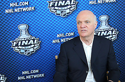 May 29; Newark, NJ, USA; New Jersey Devils general manager Lou Lamoriello during Stanley Cup Finals media practice day at the Prudential Center.