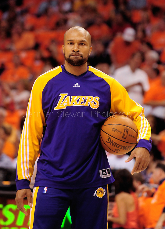 May 29, 2010; Phoenix, AZ, USA; Los Angeles Lakers guard Derek Fisher (2) reacts prior to the first quarter in game six of the western conference finals in the 2010 NBA Playoffs at US Airways Center.  Mandatory Credit: Jennifer Stewart-US PRESSWIRE