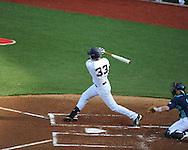 Ole Miss' Matt Snyder 933) hits a three run double vs. North Carolina-Wilmington at Oxford-University Stadium in Oxford, Miss. on Saturday, February 25, 2012. Ole Miss won 6-4.