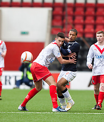 Airdrie United's Gregor Buchanan and Falkirk's Lyle Taylor..half time : Airdrie United 0 v  0 Falkirk, 30/3/2013..©Michael Schofield..