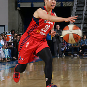 Washington Mystics Guard Kara Lawson (20) attempts to pass the ball in the second half of a WNBA preseason basketball game between the Chicago Sky and the Washington Mystics Tuesday, May. 13, 2014 at The Bob Carpenter Sports Convocation Center in Newark, DEL