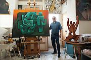 Painter and sculptor Artemio Guerra at his studio in Reynosa, Tamaulipas, Mexico.<br /> <br /> &copy; Stefan Falke<br /> www.stefanfalke.com<br /> LA FRONTERA: Artists along the US Mexican Border