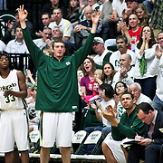 SHOT 1/28/12 4:23:11 PM - The Colorado State bench reacts to a made three pointer during their regular season Mountain West conference game against San Diego State at Moby Arena in Fort Collins, Co. Colorado State upset 12th ranked San Diego State 77-60. (Photo by Marc Piscotty / © 2012)