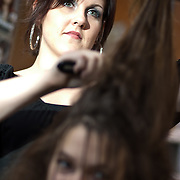 04/20/12 Newark Del. Stylist Ashley Bachman works on model Amanda Nickson hair during a dress rehearsal Friday, April. 20, 2012 at The Paul Mitchell school of Delaware Friday, April. 20, 2012 in Newark Del...Special to The News Journal/SAQUAN STIMPSON