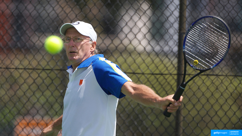 John Paish, Great Britain, in action in the 60 Mens Singles  during the 2009 ITF Super-Seniors World Team and Individual Championships at Perth, Western Australia, between 2-15th November, 2009.