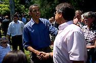 U.S. Presidential candidate Senator Barack Obama speaks during a campaign stop in Elkader, IA July 14, 2007.