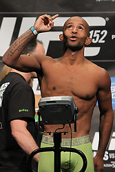 Toronto, Ontario, Canada - September 21, 2012: Demetrius Johnson weighs in for his fight against Joseph Benavidez at the UFC 152 weigh-ins at the Mattamy Athletic Centre at The Gardens in Toronto, Ontario, Canada.  The two will meet for the first-ever UFC Flyweight Championship.