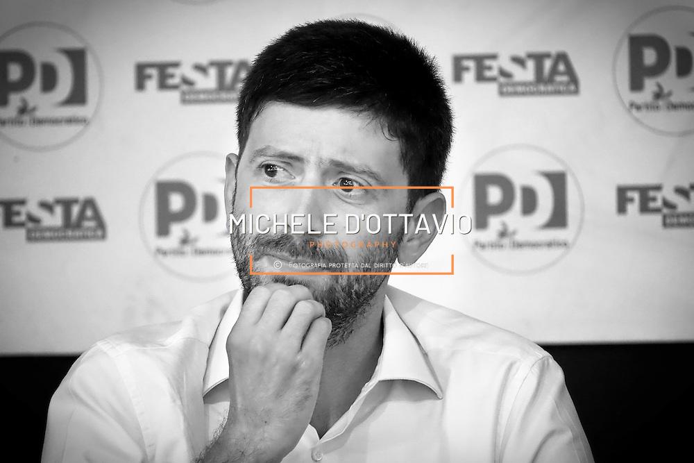 Roberto Speranza, ex capogruppo del Partito Democratico alla Camera dei Deputati, durante il suo intervento alla festa de l'Unita. Torino 4/09/2016
