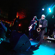 """Mars Williams (center) and Rich Good of The Psychedelic Furs perform on May 8, 2011 in support of the 30th Anniversary of """"Talk Talk Talk"""" at the Showbox Market in Seattle, Washington"""