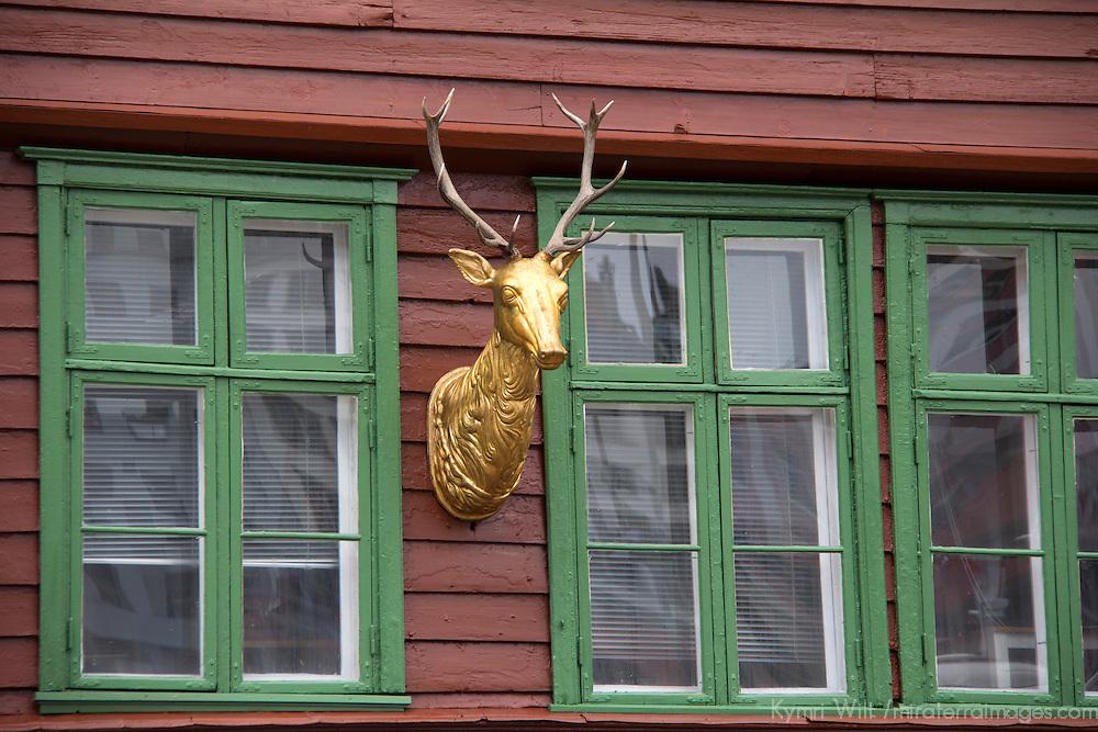 Europe, Norway, Bergen. Bryggen facade deer, a UNESCO World Heritage Site.