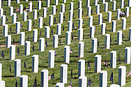 Rows of Headstones on Memorial Day, Santa Fe National Cemetery, New Mexico