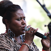 American Jazz singer Theo Valentin performs during the 27th DuPont Clifford Brown Jazz Festival Saturday, June 20, 2015, at Rodney Square in Wilmington, Delaware.