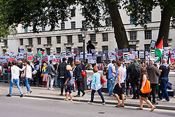 London, August 23rd, 2014. Hundreds of pro- Palestine protesters demonstrate outside Downing Street demanding that Britain stops arming Israel.