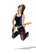 Female guitarist jumps