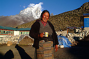 Nepali woman owner of the Dingboche lodge and teahouse, Dingboche, Nepal. On the trail to Everest Base Camp, Nepal.2007 Nepal 2007. Everest Base Camp