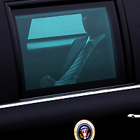 (051811  Boston, MA) President Barack Obama prepares to leave Logan International Airport on his way to a fundraiser in the South End, Wednesday,  May 18, 2011. Staff photo by Angela Rowlings.