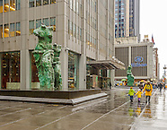 """Jim Dine's """"Looking Toward the Avenue"""" sculptures , 1301 Avenue of the Americas, New York"""