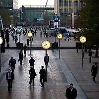 Canary Wharf commuters arrive for work in London's modern business centre..