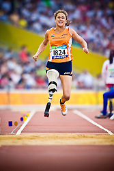"""ROOZEN Annette of The Netherlands competes in the women's F42 Long Jump during the Beijing 2008 Paralympic Games; National """"Bird's Nest"""" Stadium, Beijing Olympic Green, China, 8th September 2008;"""