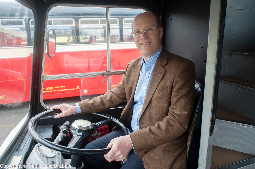 """Next Stop"" Olive Grove Bus bus depot open day on Saturday, Giels Fearnley First's Managing Director UK Bus behind the wheel of a Leyland Atlantian which saw service in Sheffield during the 1960's and 70's..12 May 2013.Image © Paul David Drabble"