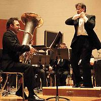 Jacob Cameron (left, the newly hired Instructor of Tuba) plays under the direction of Dr. David M. Booth as part of the WSU Wind Sympony at the 2007 Arts Gala at Wright State University, Saturday evening..
