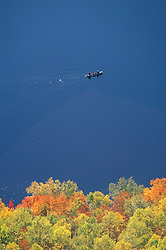 Baxter State Park, ME. Canoeing on lower South Branch Pond.  Fall foliage. Northern Forest.