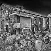 Abandoned Americana Artifacts Shack - Eldorado Canyon Techatticup Mine - Nelson NV - HDR -  Infrared Black & White