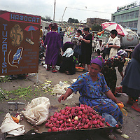 Selling vegetables in the Chorsu bazaar market, in Tashkent, one of the cities on the old Silk Road trading route through Central Asia. Uzbekistan.