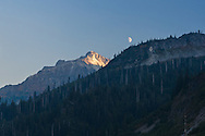 The moon rising over Stevens Peak in Mount Rainier National Park, Washington State, USA.  Photographed from Stevens Canyon at Mount Rainier.