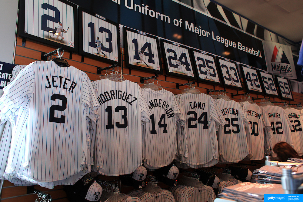 Current Yankee baseball shirts including Derek Jeter and Alex Rodriguez for sale at the Yankees store at Yankee Stadium, The Bronx, during the New York Yankees V Detroit Tigers Baseball game at Yankee Stadium, The Bronx, New York. 28th April 2012. Photo Tim Clayton