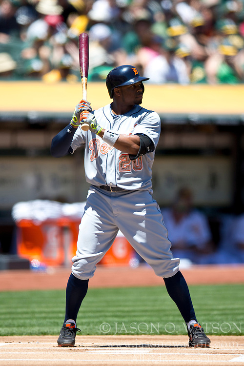 OAKLAND, CA - MAY 26:  Rajai Davis #20 of the Detroit Tigers at bat against the Oakland Athletics during the first inning at O.co Coliseum on May 26, 2014 in Oakland, California. The Oakland Athletics defeated the Detroit Tigers 10-0.  (Photo by Jason O. Watson/Getty Images) *** Local Caption *** Rajai Davis