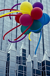 colorful ballons and architectural detail of Pittsburgh PA PPG building.