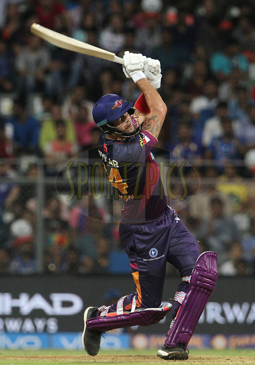 Rising Pune Supergiants player Kevin Pietersen plays a shot during match 1 of the Vivo Indian Premier League ( IPL ) 2016 between the Mumbai Indians and the Rising Pune Supergiants held at the Wankhede Stadium in Mumbai on the 9th April 2016<br /> <br /> Photo by Vipin Pawar/ IPL/ SPORTZPICS