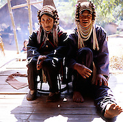 Abu (80 - left) and Miyou (50 - right) at the veranda of Miyu's house in the Akha village Huei Naam Kun that is located in the mountains near Chiang Rai.