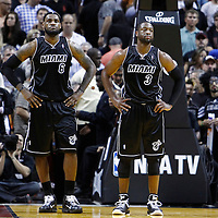 29 January 2012: Miami Heat small forward LeBron James (6) and Miami Heat shooting guard Dwyane Wade (3) are seen at the end of the 4th quarter during the Miami Heat 97-93 victory over the Chicago Bulls at the AmericanAirlines Arena, Miami, Florida, USA.