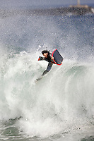 20 June 2006:  Boogie Boarder David Arnold catches some air off a wave during a South swell reaches the famous surf spot in Newport Beach, CA called The Wedge.  Surfers, boogie boarders, body surfers and crowds gather to watch the powerful waves and the waters take shape into unique sets along the jetty in Orange County, California.  Sequence of 13 images.