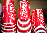 Stack of Coca Cola Fizzy Drink Paper Cups - Aug 2014.