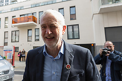 © Licensed to London News Pictures. 29/04/2017. LONDON, UK.  Jeremy Corbyn, the Labour Party leader arrives to give a speech on leadership as part of his general election campaign.  Photo credit: Vickie Flores/LNP