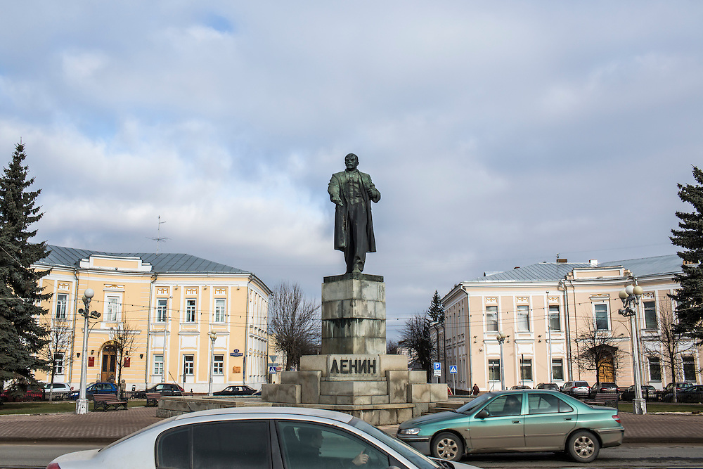 A statue of Vladimir Lenin, a common feature of almost every Russian town, stands in a central square on Tuesday, February 25, 2014 in Tver, Russia. Tver was the home of Alexander Panin, a Russian citizen who was arrested in the Dominican Republic in June 2013, and is set to be charged by federal authorities in the US with being part of a gang which robbed bank accounts via the Internet. Photo by Brendan Hoffman, Freelance