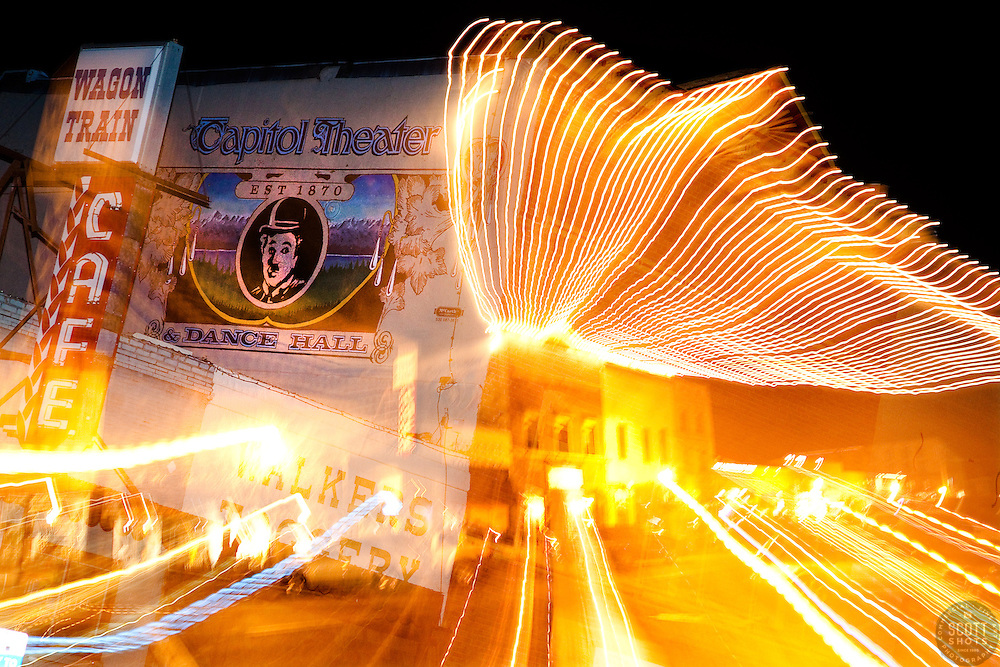 """Downtown Truckee, CA"" - This abstract photo of Downtown Truckee, CA was achieved by zooming the camera's lens during a long exposure."