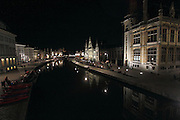 View From St Michael's Bridge at Night, Ghent, in the East Flanders region of Belgium